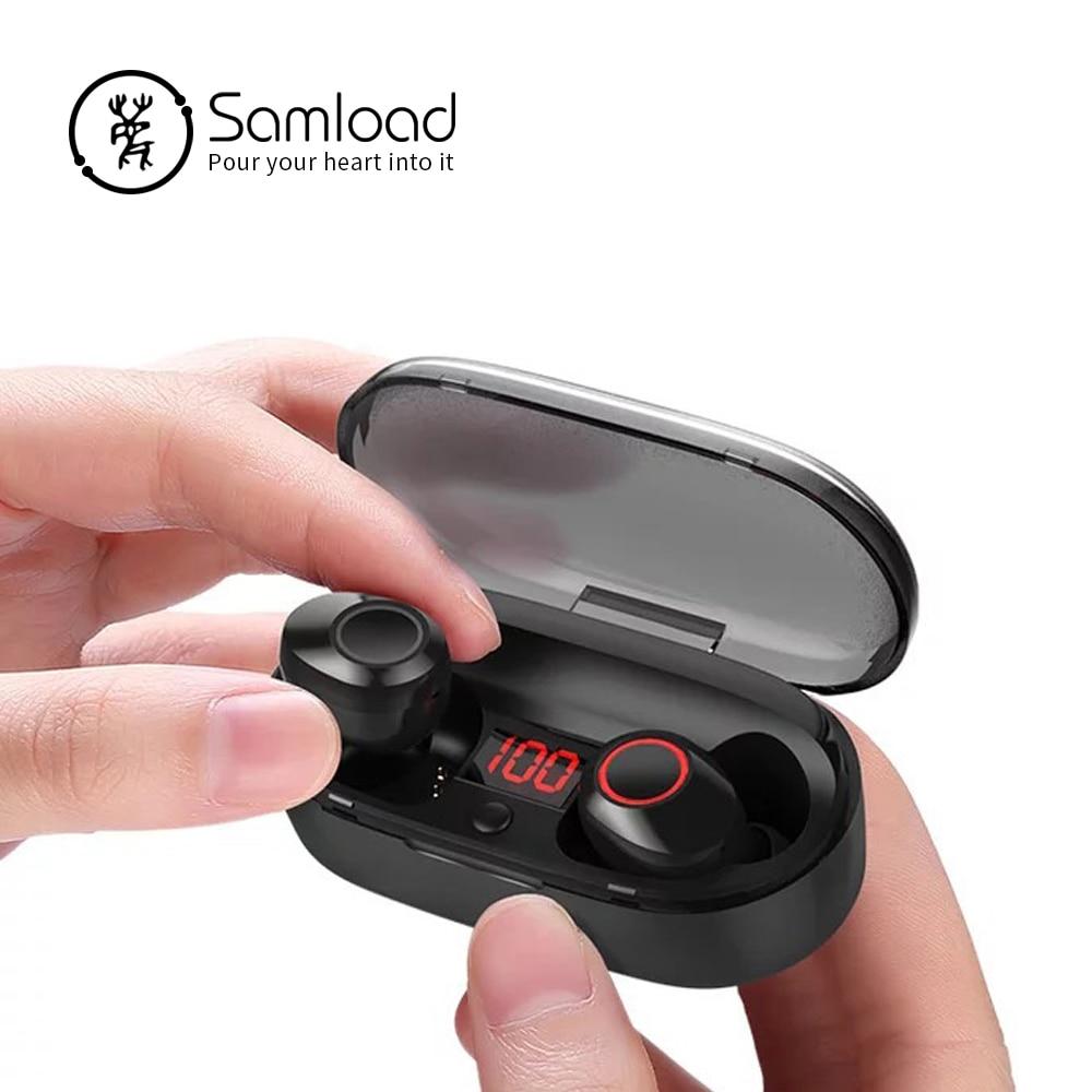 Samload auriculares Bluetooth 5,0 llamadas Binaural inalámbrica auriculares bajo sonido auriculares Mini en la oreja auriculares Bluetooth con micrófono