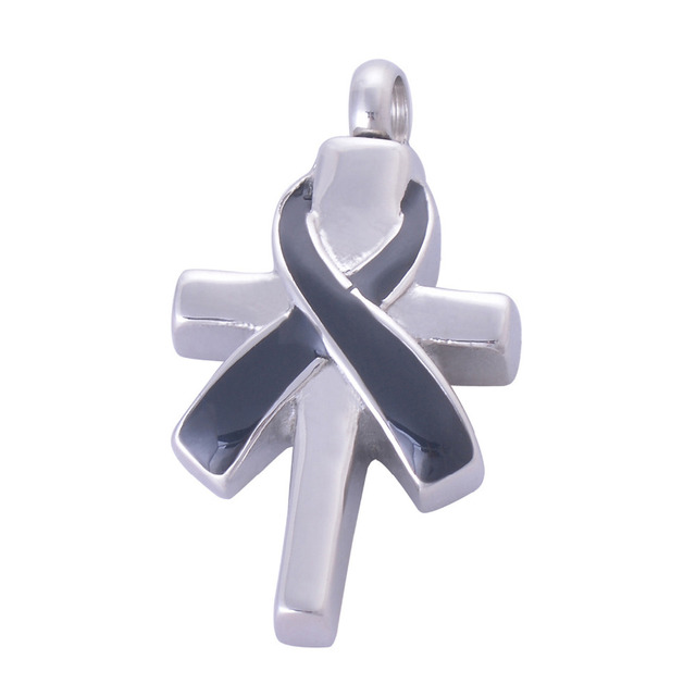 Cross Shaped Memorial Pendant With Ribbon