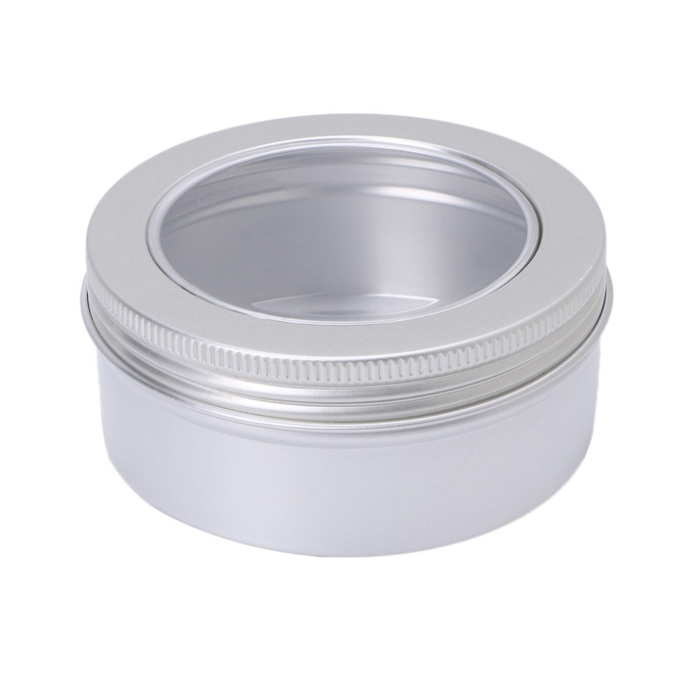 Empty Aluminum Cosmetic Pots Container Make Up Jar Clear Top View Window 150ml New