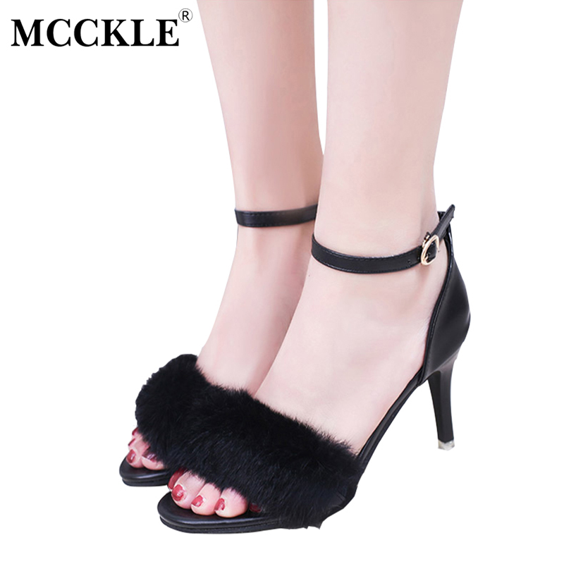 women fashion ankle strap sandals thick high heels black party shoes woman pumps for summer qq302 MCCKLE New Women's Shoes High Heels Ladies Sandals Party Dress Sandals 2017 Summer Ankle Strap Pumps Sandalias Shoes Woman Fur