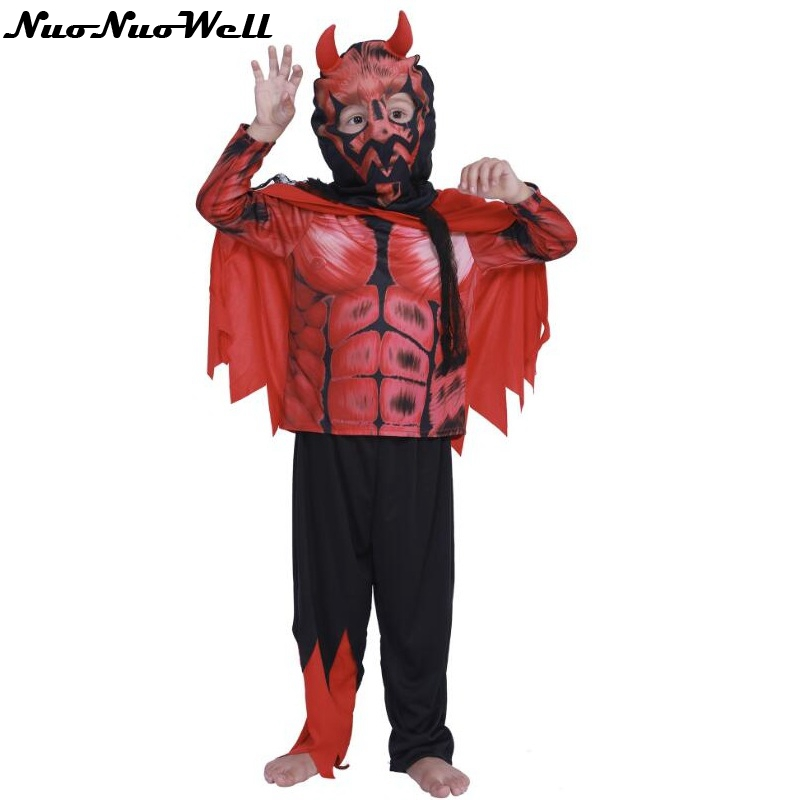 Children's Day Halloween Scary Red Horn Devil Costumes For Kids Child Boys Demon Costume Cosplay Fancy Dress Robe Outstanding Features