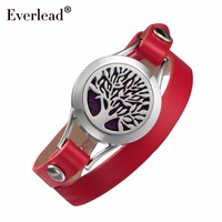 EVERLEAD Double wrap Genuine leather bracelets Aromatherapy Jewelry Tree of Life diffuser Valentine's Day gift for girlfriend