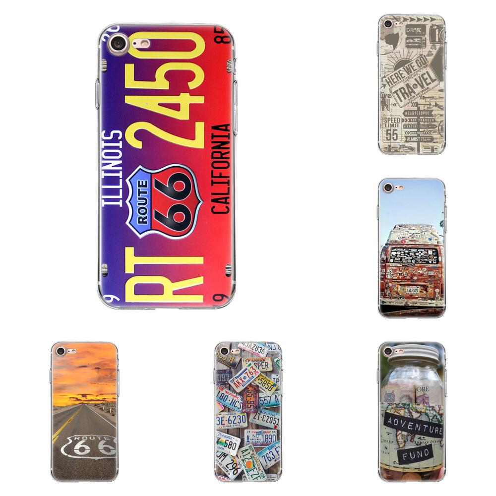 Soft Silicone TPU Transparent Capa Cover Case For Apple iPhone 4 4S 5 5C 5S SE 6 6S 7 8 Plus X Travel America Route 66 travel