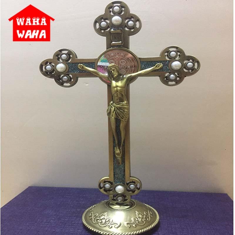 Jesús católico crucifijo cristiano con adornos de perlas Cruz Rood Emanuel Jesús Cruz estatuilla con figura Base Juego de puzle para niños, competición de campo traviesa, juegos de mesa familiares de inteligencia para Padres