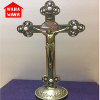 Jesus Catholic Christian Holy Crucifix with Pearl Ornaments Cross Rood Emmanuel Jesu Cross Statuette with Base Figure Figurine