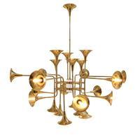 Delightfull Botti Hanging Lights Gold Chandelier Suspension Lamps Trumpet Group 12/ 16/ 24 Head Dining Living Room Restaurant