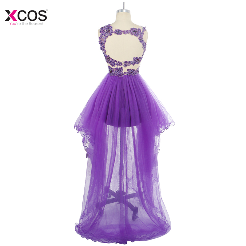Hi Low Crystal Beaded Prom Dress Tulle Short Gront Long Back Formal Party  Scoop Homecoming Ball Gown Vestido de Festa-in Prom Dresses from Weddings    Events ... 26a3b2403597