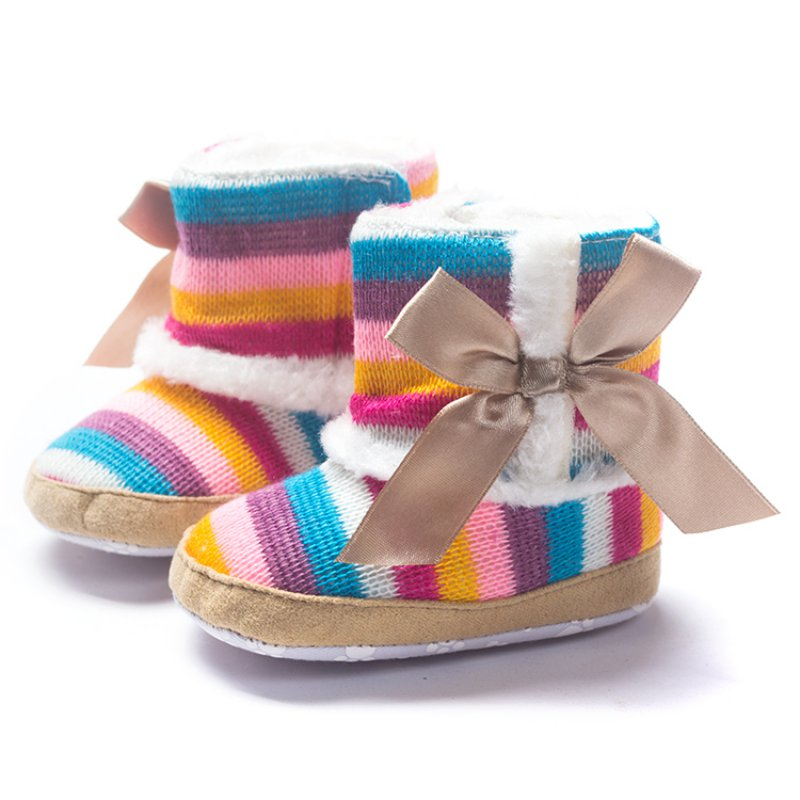 Newborn Baby Rainbow Wool Infant cotton Padded Shoes Boots for Winter and Snow