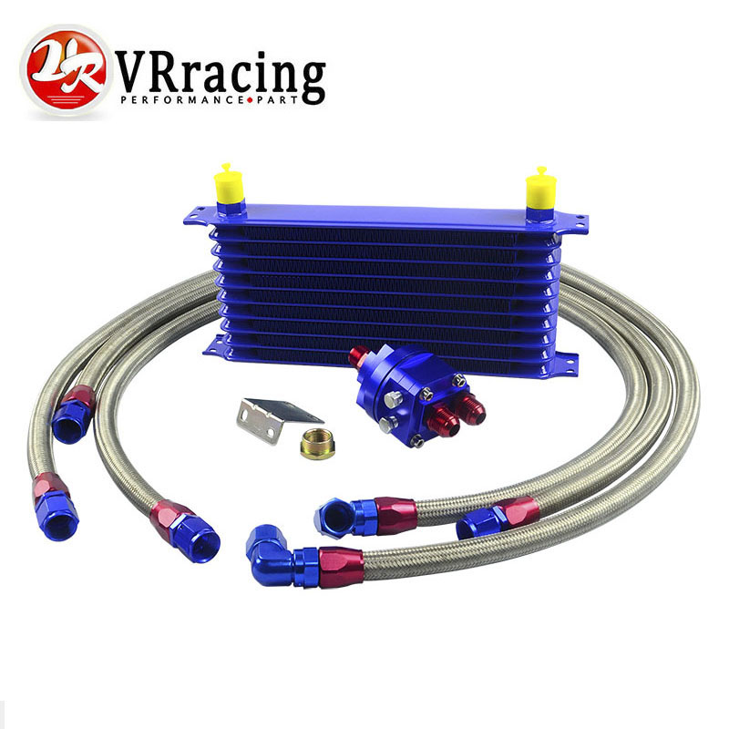 VR RACING - Universal OIL COOLER 10 Row 10AN Aluminum Engine Transmission Oil Cooler Relocation Kit VR5110B+6724BR+3PCS pqy store blue 15 row an 10an universal engine oil cooler kit aluminum hose end kit pqy5128