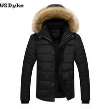 Осень Зима Новая повседневная мужская зимняя куртка с капюшоном Толстая Теплая мужская парка с меховым воротником