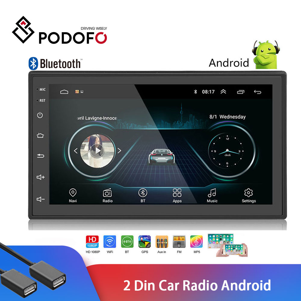 Podofo Universal Android 2 Din Autoradio Car Radio 7 2 din Multimedia Player GPS MP5 Player