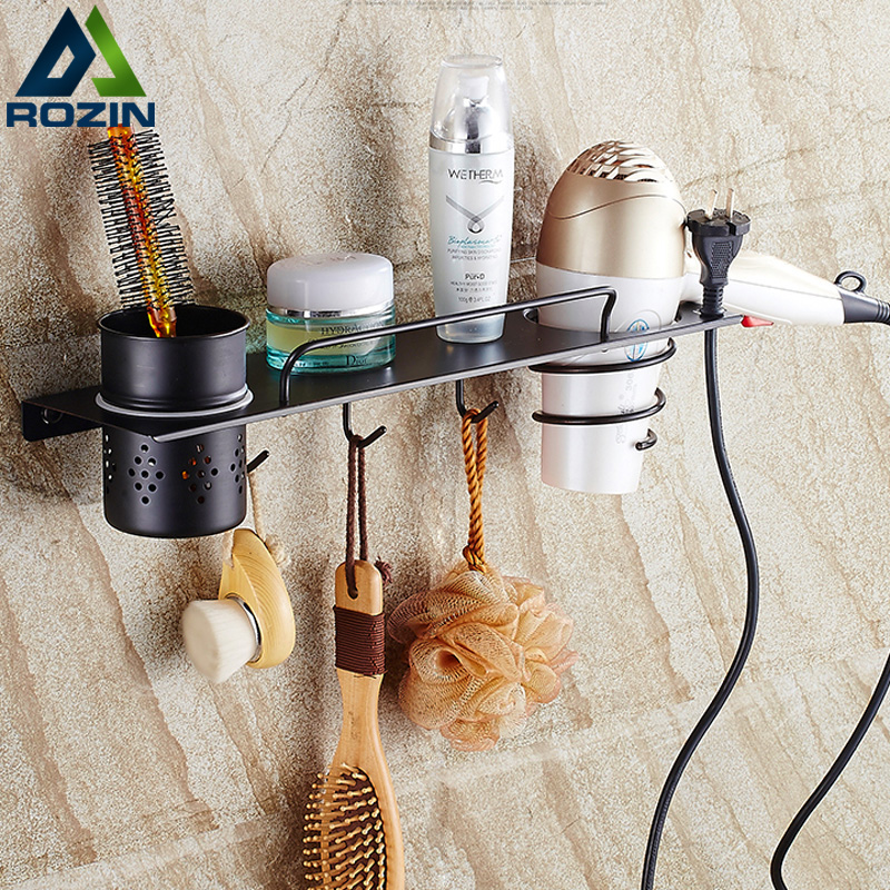 Wall Mounted Hair Dryer Comb Rack Holder Bathroom Storage Organizer Commodity Shelf Bathroom Accessories with Cup Hooks free shipping modern fashion bathroom hair dryer shelf rack golden finish commodity holder wall mount bathroom accessories3318