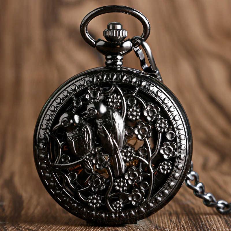 Vintage Black Hollow Birds Flowers Case Skeleton Hand Wind Mechanical Pocket Watches For Men
