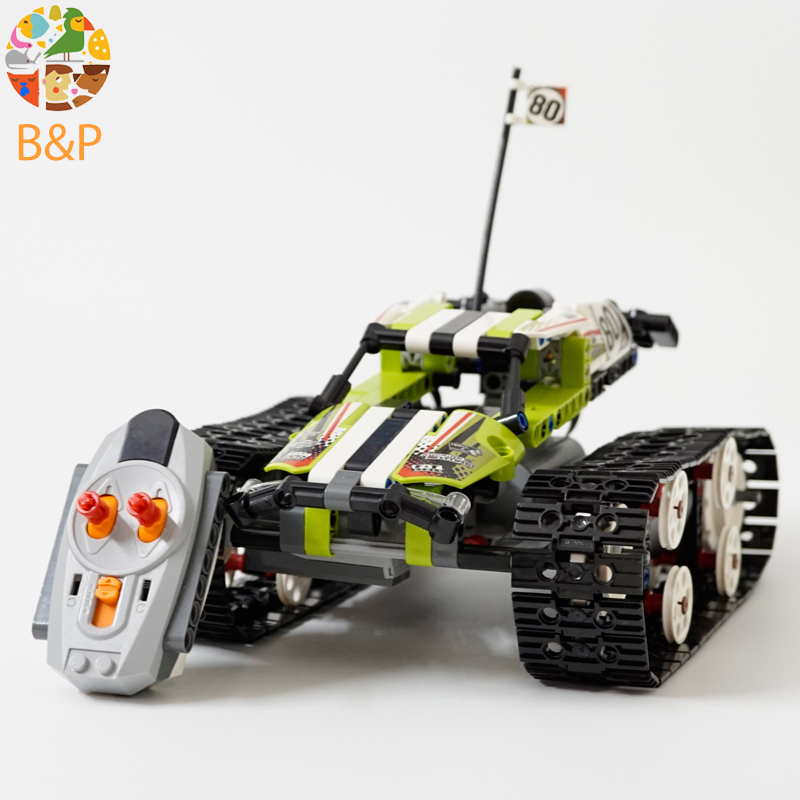 42065 397Pcs Technic Series The RC Track Remote-control Race Car Set Building Blocks Bricks Gifts Toys compatible Legoing 20033 glow race track bend flex glow in the dark assembly toy 112 160 256 300pcs slot race track 1pc led car puzzle educational toys