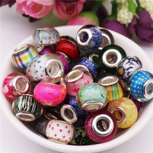 50pcs Assorted color Large hole beads spacer murano bead charms fit for original Pandora bracelet bangle DIY jewelry Making