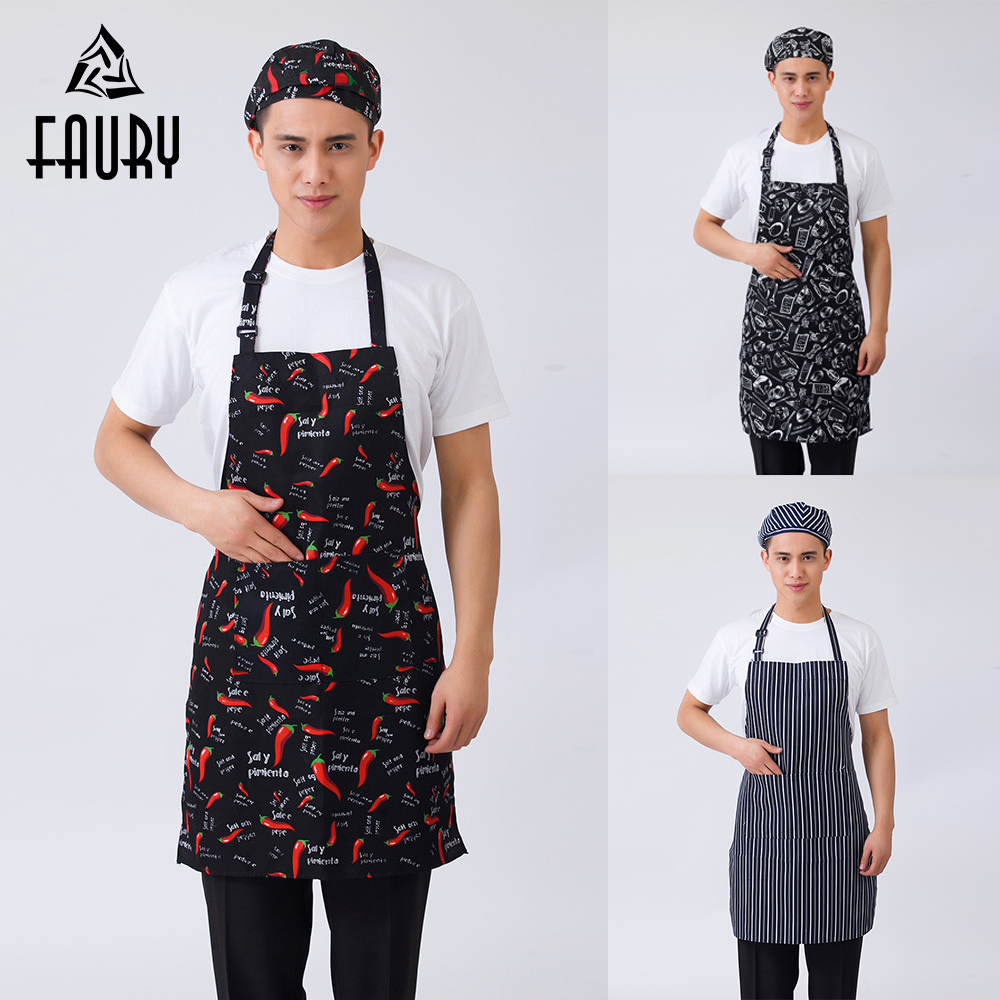 10Pcs/lot Unisex Striped Plaid Print Adjustable Halter Neck Home Kitchen Cooking Wear Aprons Restaurant BBQ Cafe Chef Work Apron