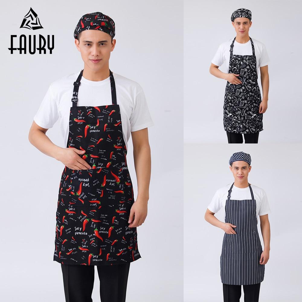 10Pcs/lot Unisex Striped Plaid Print Adjustable Halter Neck Home Kitchen Cooking Wear Aprons Restaurant BBQ Cafe Chef Work Apron