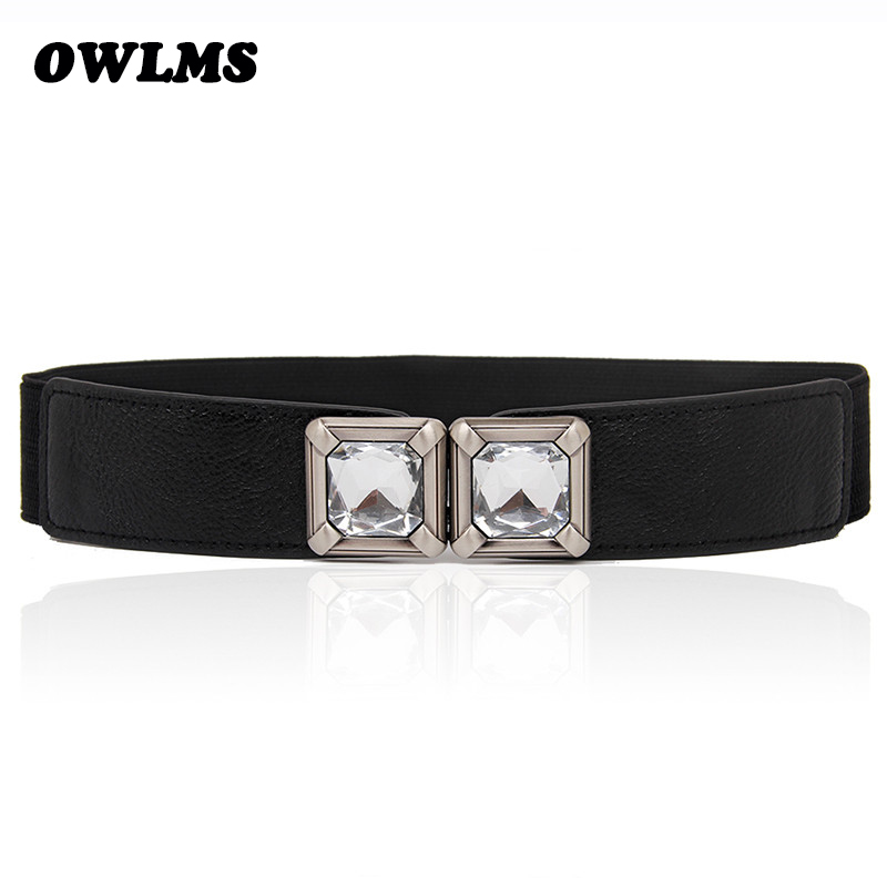 Newest Cummerbund Free Shipping Thin Cummerbunds Leather Square Crystal Buckle Women Fashion Elastic Waist Belt Strap Dress Lady
