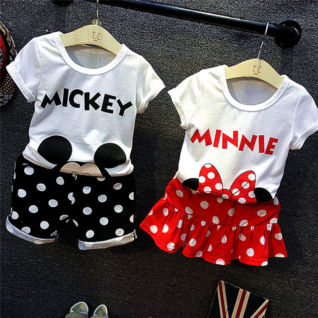 children clothes suit,2018 new style baby boy and girls summer fashion cartoon mickey minnie Brother & sister casual sport set