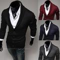 Envío gratis 2014 nueva moda men ' s casual solapa de la chaqueta de punto del color del encanto delgado