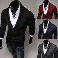 Free Shipping 2014 new fashion men's casual jacket lapel spell color cardigan sweater Slim