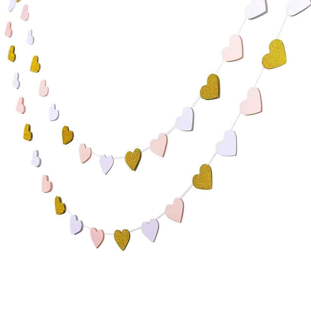 3m Màu Hồng Trắng Vàng Bunting Treo Vòng Hoa Valentine Sinh Nhật Cưới Vòi Tắm Hoa Sen Trang Trí Phòng Giấy Vòng Vòng Tròn Dây