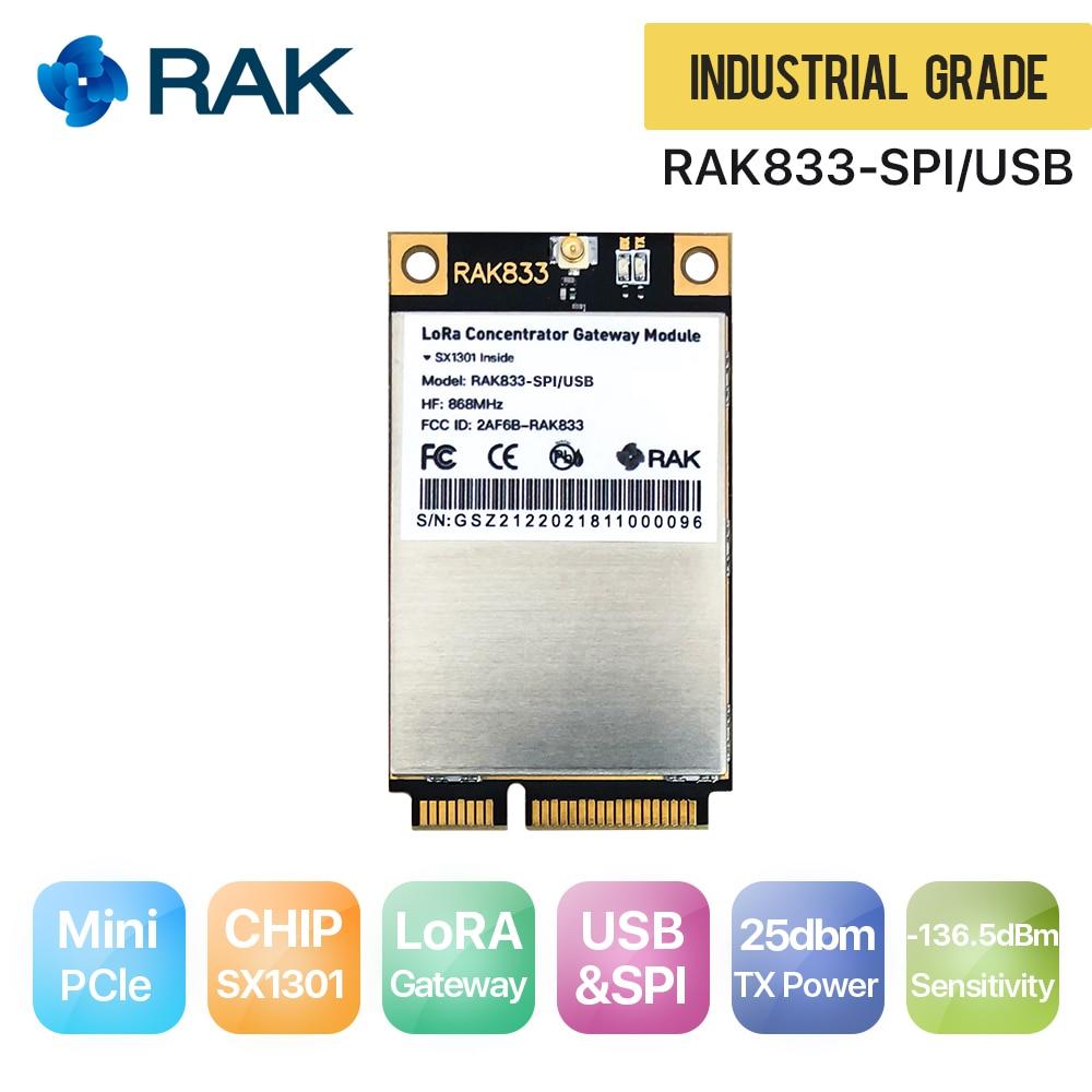 RAK833 SPI&USB Industrial Grade Mini PCIe LoRa Gateway Concentrator Module, SX1301 & FT2232H Chip, 868/915MHz, support SPI & USB цена