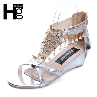 HEE GRAND Gladiator Sandals Summer Style Flip Flops Elegant Platform Shoes Woman Pearl Wedges Sandals Casual