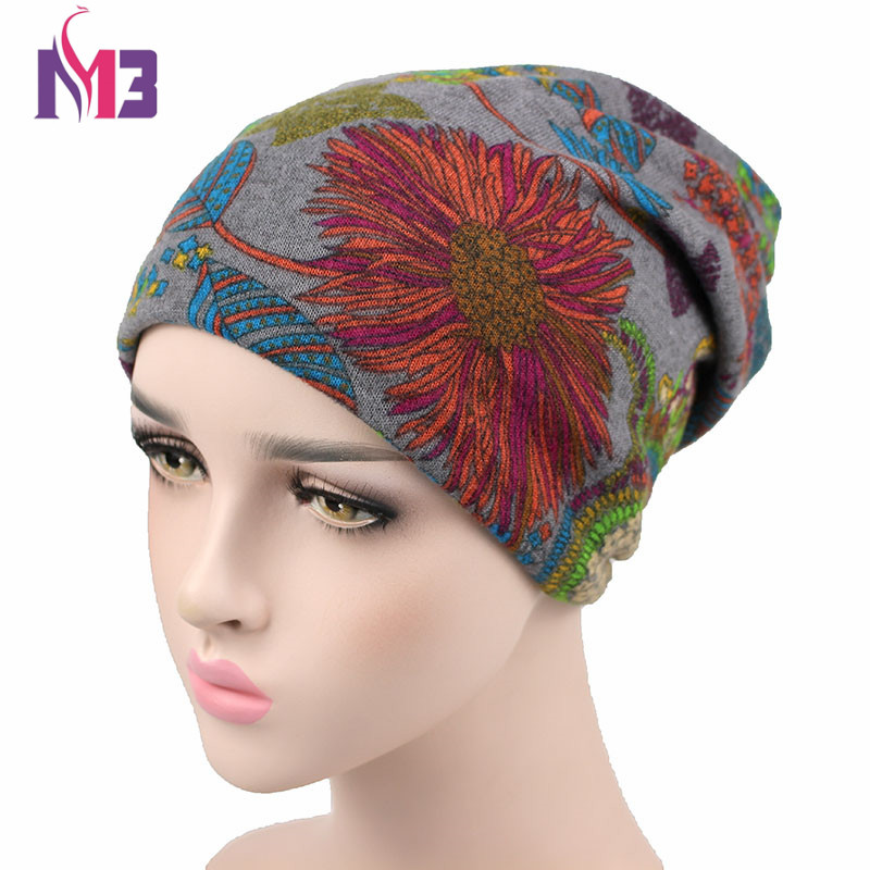 Autumn Winter Women Skullies Beanie Hat Knitted Polyester Skullies Two Used Neck Warmer Casual Women's Hat Floral Ski Gorros Cap