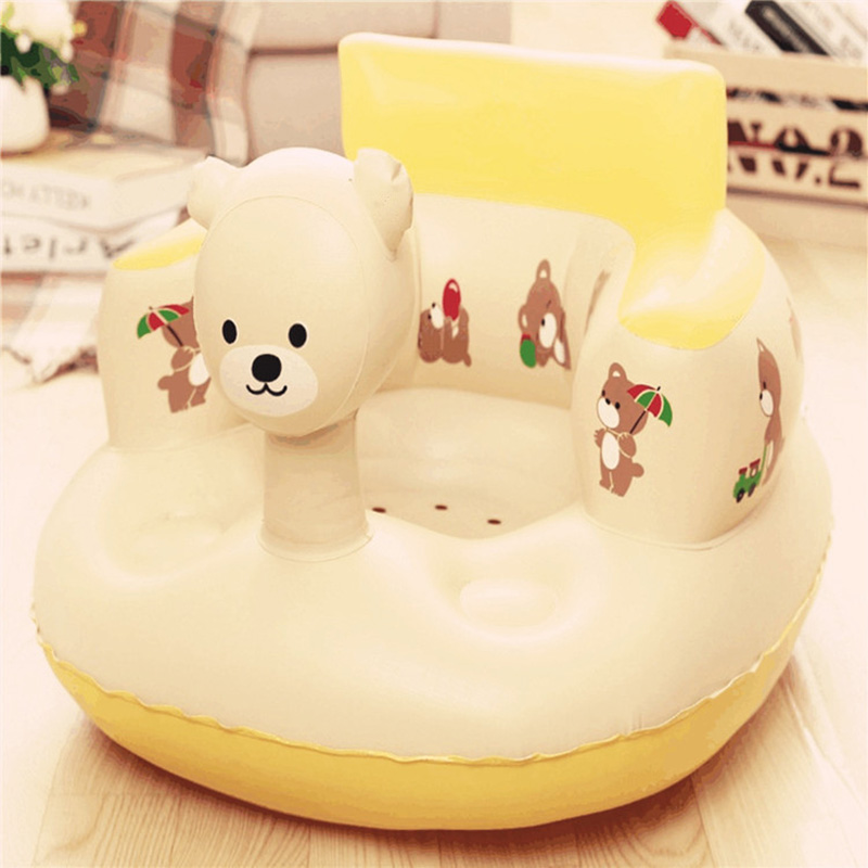 Kids Baby Inflatable Chair Sofa Bath Seat Dining Pushchair PVC Infant Portable Play Game Mat Stool