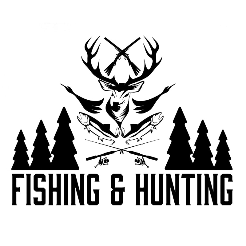 17.8*13.7cm Fishing Hunting Shop Hunter Fisherman Vinyl Stickers Decals Reflective Material Black/White