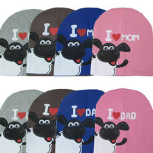 Bonnet Enfant Fotografia 2017 Spring Autumn And New Hat Cotton Knitted Cute  Baby Cartoon For Love Mom Dad + Lamb Children Ha ced9e35285d4