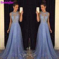 Real Photo Sexy O Collo Una Linea Chiffon Del Merletto Appliques in rilievo Azzurro Lungo Prom Dresses Corte Dei Treni Prom Gown