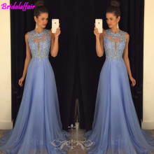 Real Photo Sexy O Collo Una Linea Chiffon Del Merletto Appliques in rilievo Azzurro Lungo Prom Dresses Corte Dei Treni Gown