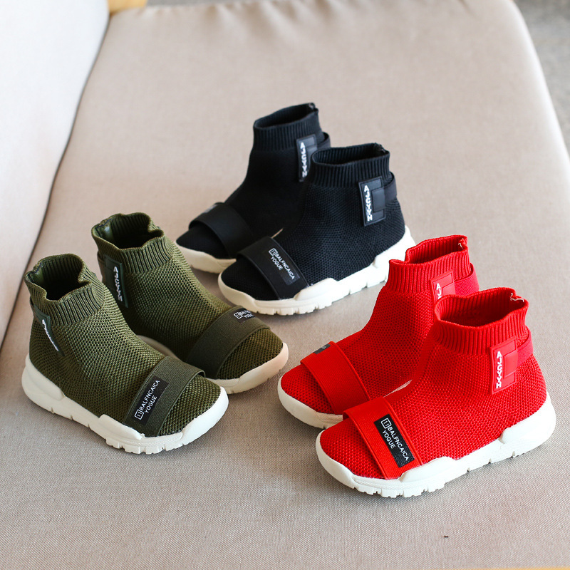 d7471429af0 US $23.3 21% OFF|Childrens Leisure Shoes New Fashion Kids Shoes Boys High  Top Boots Girls Sports Shoes Breathable Sneakers Knitted Flats 21 30#-in ...