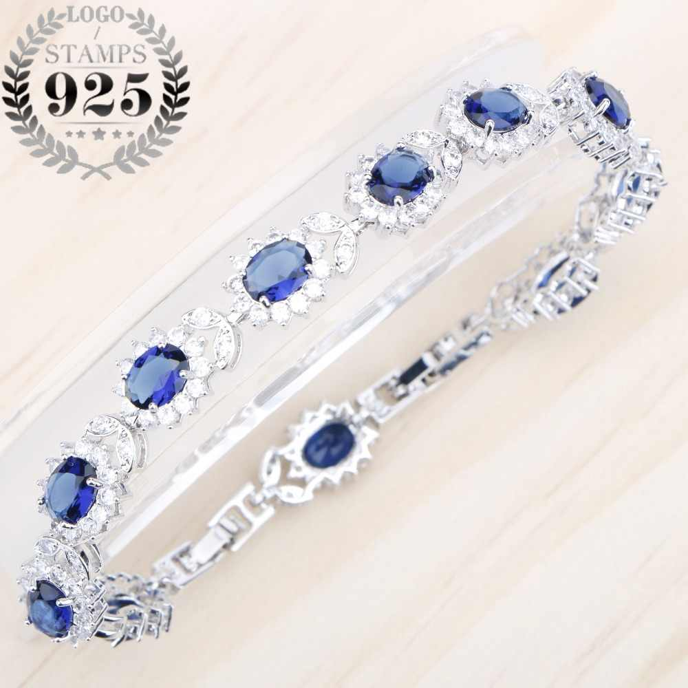 Flower Blue Zircon White Stones Silver 925 Jewelry Lovely Bracelets For Women Length 20CM Two Buttons Free Gift Box