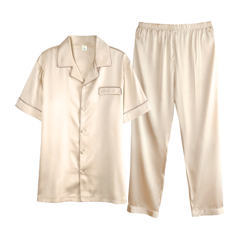High-grade Gold Satin Silk Pajamas Short Sleeve For Men Silk Long Pants Sleepwear Summer Male Pajama Set Soft Nightgown For Men