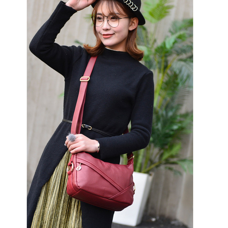 Vintage Luxury Handbags Litchi Leather Shoulder Messenger Bags For Women 2019 Designer PU Female Crossbody Bags Brand Sac A Main in Shoulder Bags from Luggage Bags