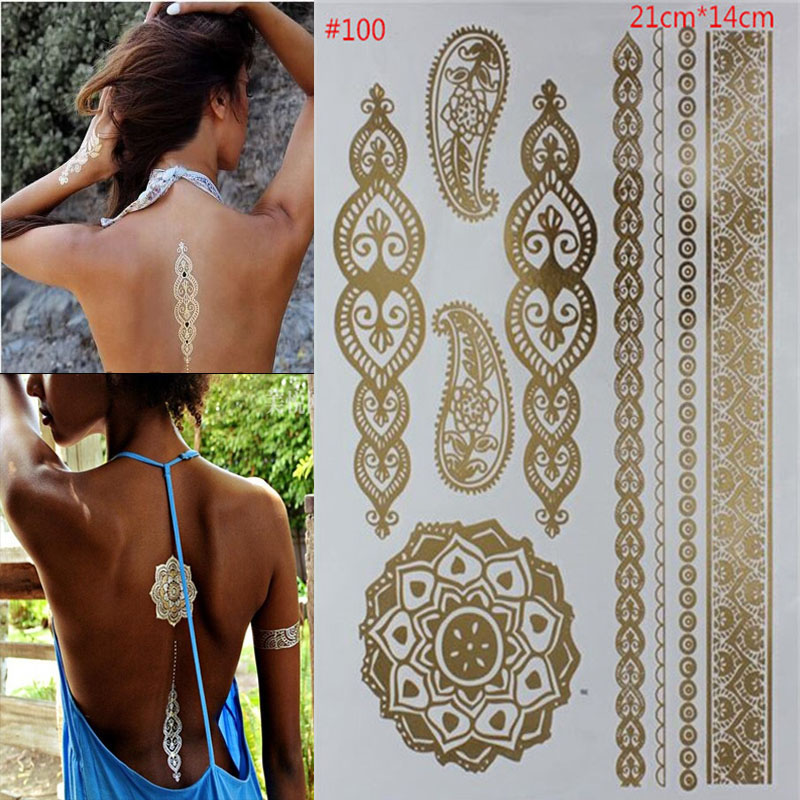 Временная Body Art стиле татуировки блестящие золотые и серебряные Металл временные флэш-одноразовые Индианс татуировки