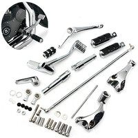1 Set Chrome Motorbike Forward Controls with Pegs Linkage For Harley Sportster 883 1200 XL 04 13 Hardware Motorbike Foot Rests