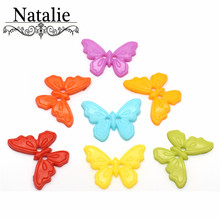 60PCS butterfly Dyed Plastic buttons Mixed Color butterfly 2 Hole Button coat boots sewing clothes accessory Fit Sewing