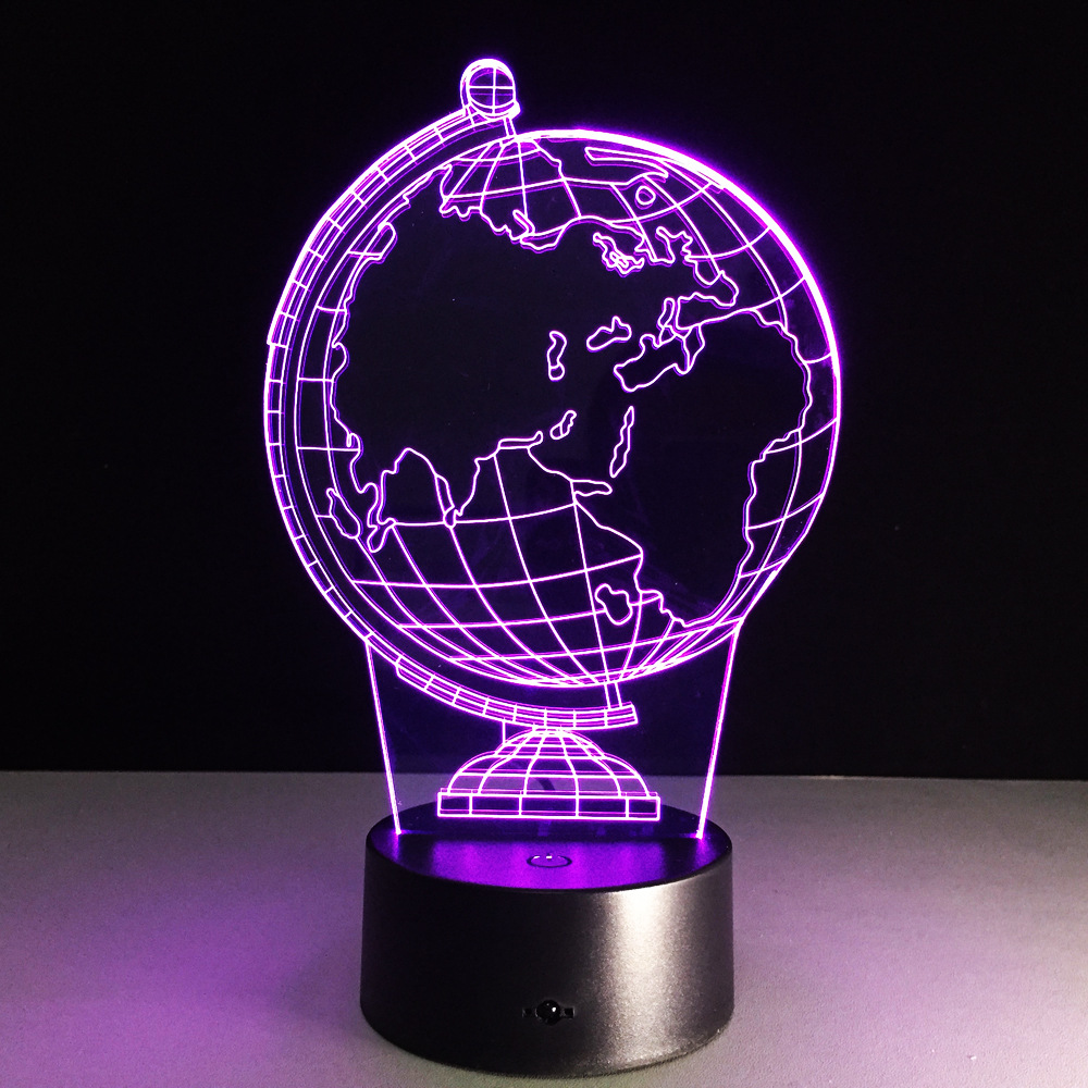 A globe 3D Lamp 7 Color Change Small Night Light Led Creative Desk lamp Indoor Atmosphere Lamp USB Or 3AA battery power supply