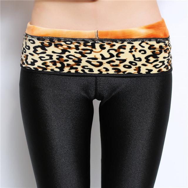 Warm Leggings with Leopard Waist