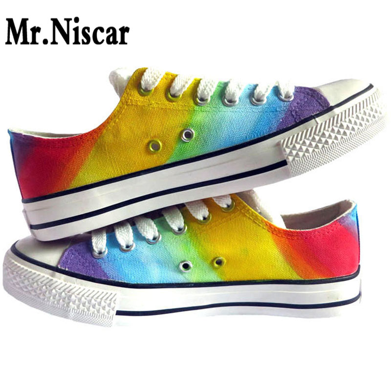 Mr.Niscar Adults Unisex Casual Sneakers Rainbow Gradient DIY Custom Hand Painted Canvas Shoes Women Fashion Breathable Sneaker