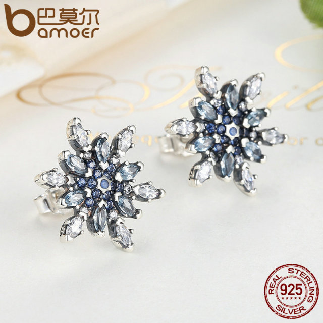 Sterling Silver Crystalized Snowflake Blue Crystal Jewelry Set