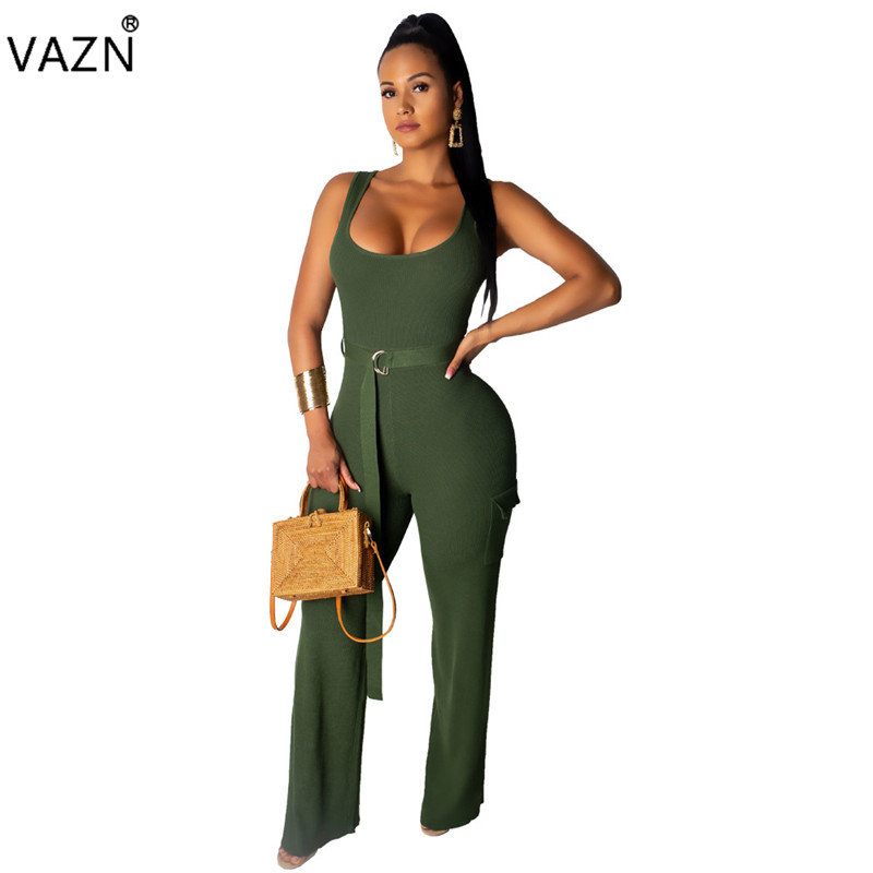 VAZN 2019 Age Reduction Lettle Chap   Jumpsuits   Lady O-Neck Sleeveless Solid   Jumpsuits   Women Sashes Wide Leg   Jumpsuits   LDS3157