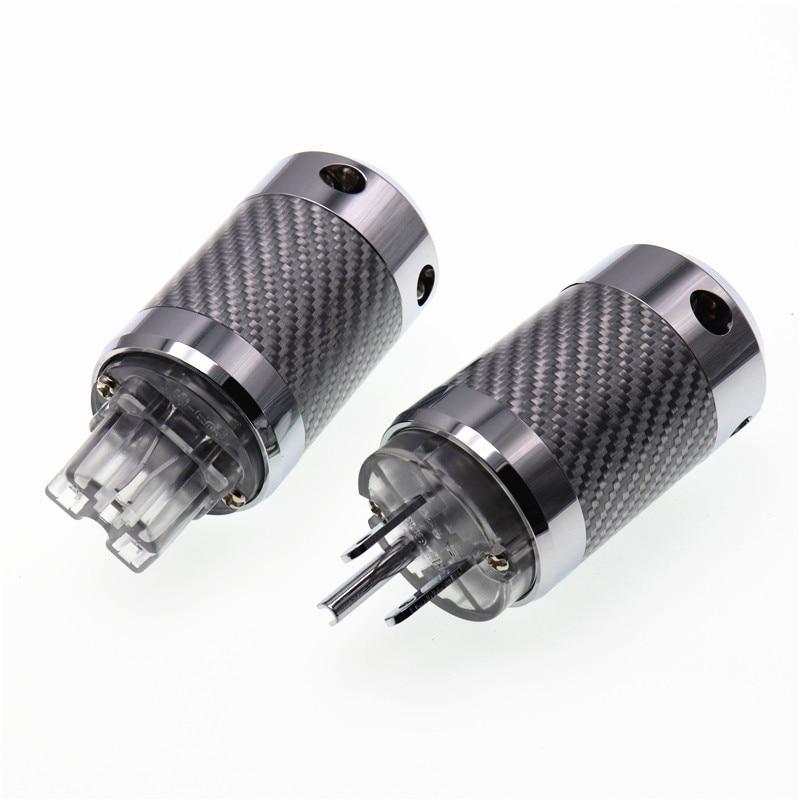 HI-End Rhodium Plated IEC Female plug carbon fiber For DIY Audio Power cable