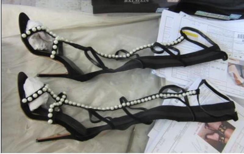 Gladiador Sandalias Diseño Correas Bota Alta Mujeres Tighg Tacón De Abierta Zapatos Diamantes Botas Heel La Alto Rodilla Imitación Recortes Punta Las 10cm q7wAfxIz7