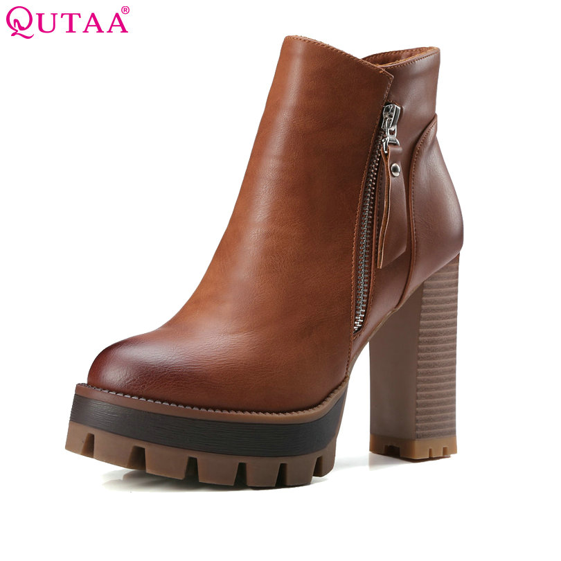 QUTAA Gray 2020 Round Toe PU Leather Western Style Women Shoes Square High Heel Ankle Boot