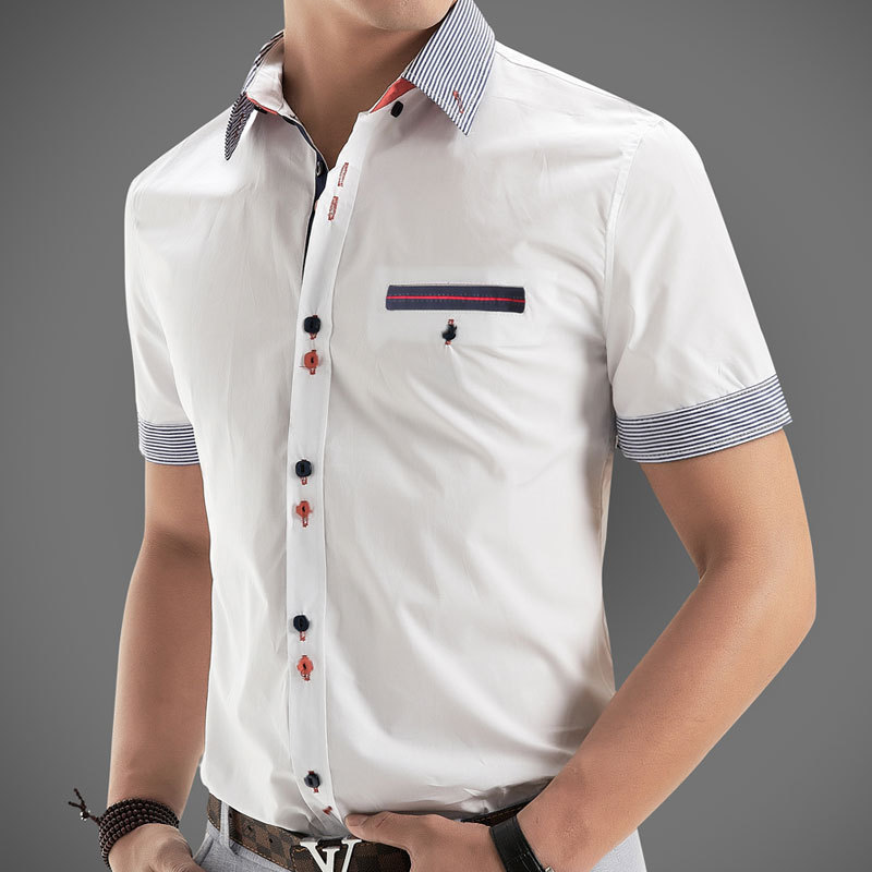 new 2014 italian dress shirts men 39 s blouses short sleeve casual shirt slim fit chemise homme. Black Bedroom Furniture Sets. Home Design Ideas